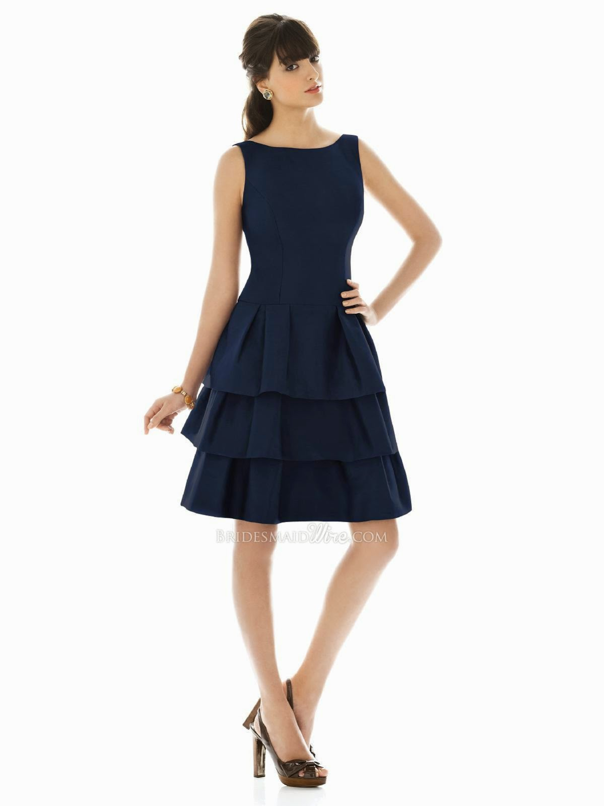 Midnight Tiered Cocktail Bridesmaid Dress with Boat Neckline Scoop Back-1