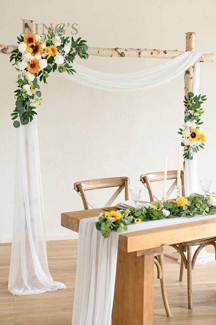 sunflower silk wedding arch garland
