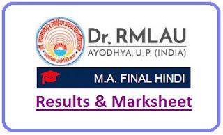 RMLAU MA Hindi Final Result 2021