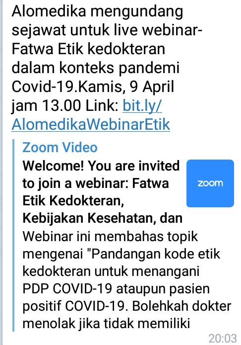 Alomedika mengundang sejawat untuk live webinar-Fatwa Etik kedokteran dalam konteks pandemi Covid-19.Kamis, 9 April jam 13.00