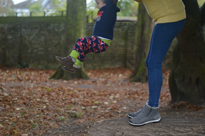 Autumn activities with kids, fire engine trousers, strive footwear