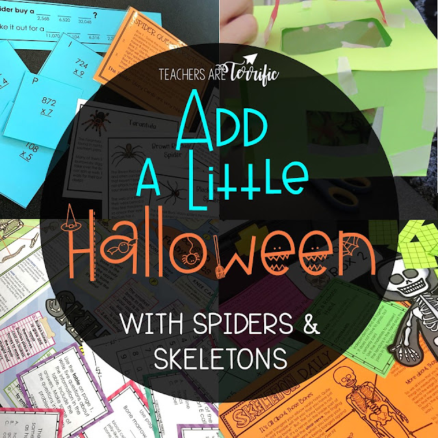 Escape Rooms and STEM Challenges perfect for October. These sets are all about spiders and skeletons! #teachersareterrific #STEM #elementary