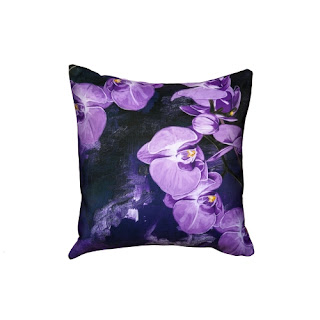 Purple orchid pillow
