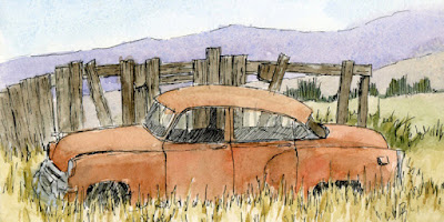 pen watercolor sketch abandoned car Chevy