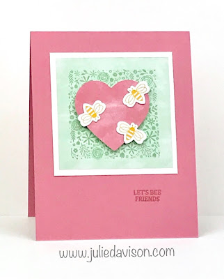 January 2020 I'll Bee Yours Paper Pumpkin Alternative Projects ~ Valentine's Day Friendship Card ~ www.juliedavison.com