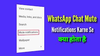 WhatsApp Chat Mute Notifications Karne Se Kya hota hai