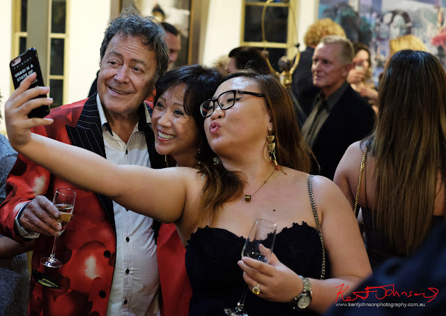 Charles Billich and admirers, selfie time - Dali Sculptures LAUNCH at Billich Gallery - Photography by Kent Johnson for Street Fashion Sydney