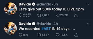 "Davido reveals his next album, ""ABT"" is complete"