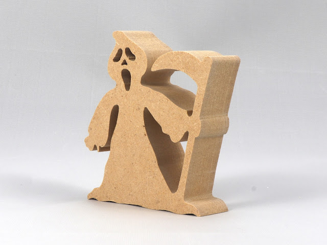 Handmade Wood Halloween Ghost Cut Out, the Grim Reaper