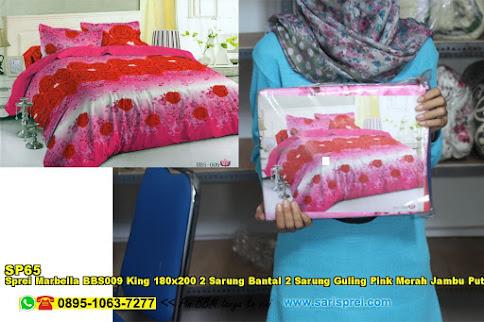 Sprei Marbella BBS009 King 180x200 2 Sarung Bantal 2 Sarung Guling Pink Merah Jambu Putih Bunga Dewasa