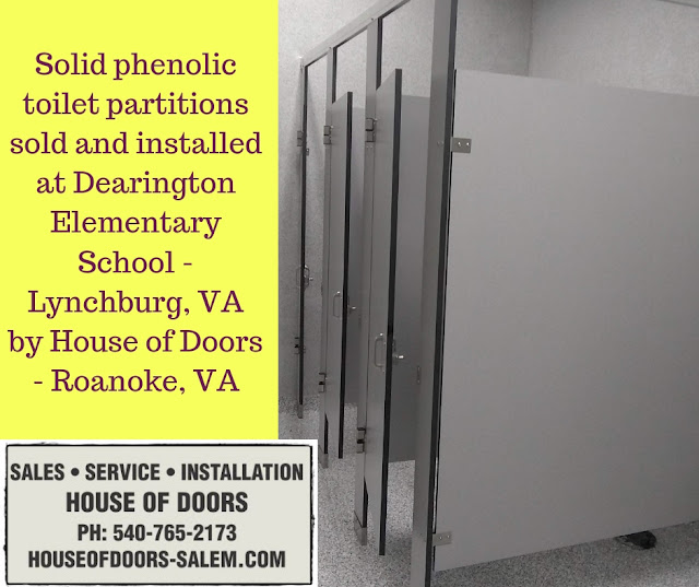 Solid phenolic toilet partitions sold and installed at Dearington Elementary School - Lynchburg, VA by House of Doors - Roanoke, VA