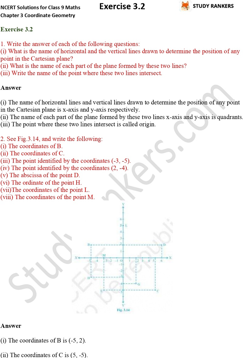 NCERT Solutions for Class 9 Maths Chapter 3 Coordinate Geometry Exercise 3.2 Part 1