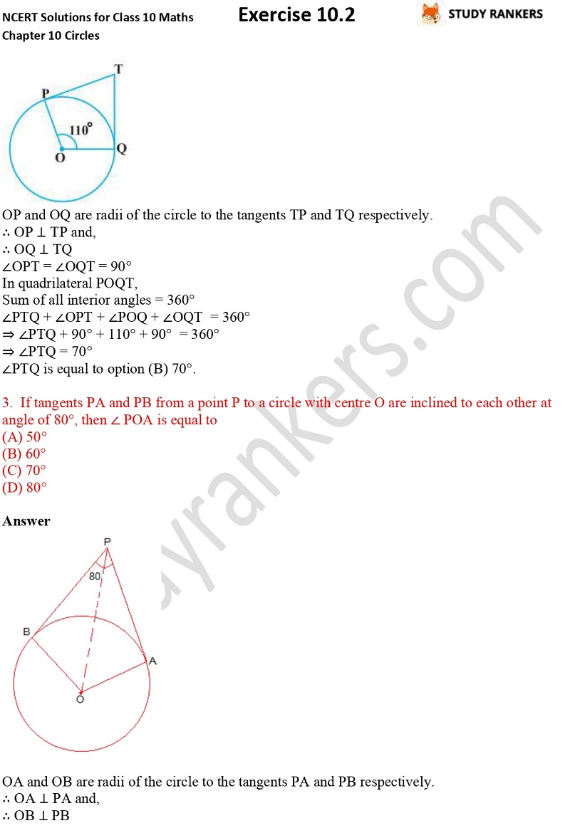 NCERT Solutions for Class 10 Maths Chapter 10 Circles Exercise 10.2 Part 2