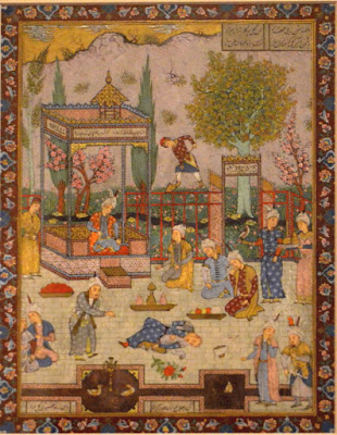 A Persian court with someone killed  18th century