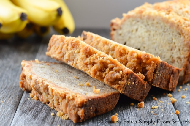 Moist Banana Bread Coffee Cake is a favorite for breakfast, lunch, snack or dessert! This recipe makes delicious banana bread every time!