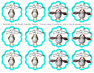 May the 4th Be With You Porg Cupcake Toppers - Free Printables