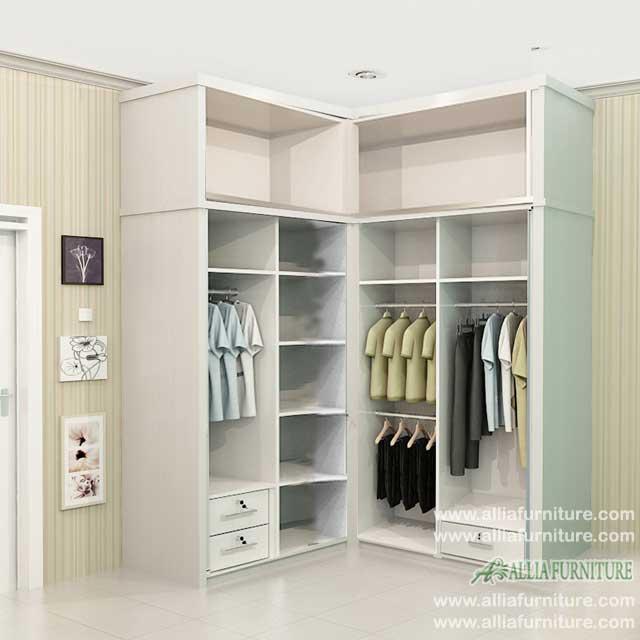 lemari baju sudut minimalis model ben