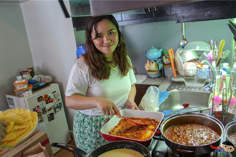 "Jieza Varela cooking lasagna for ""What's Cooking"" Challenge"