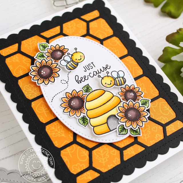 Sunny Studio Stamps: Just Bee-cause Frilly Frames Dies Stitched Oval Dies Just Because Card by Leanne West