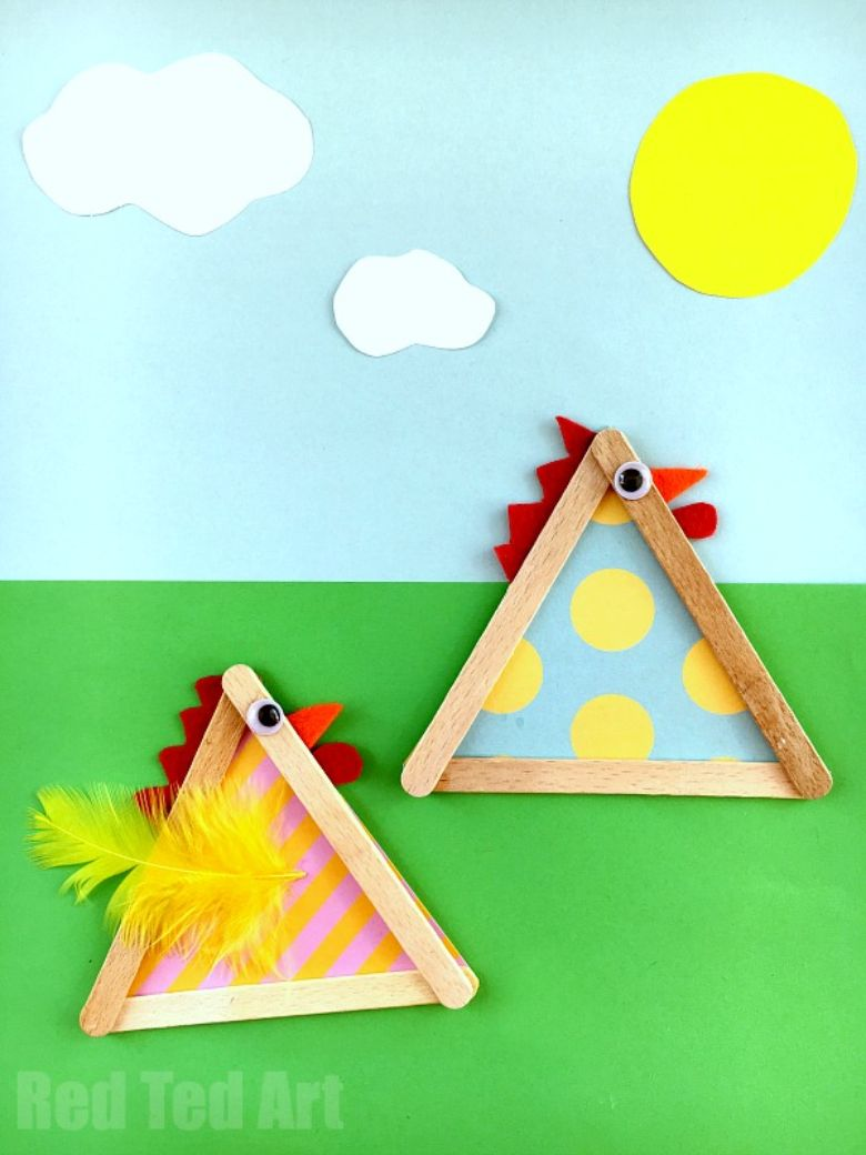 Easter crafts for preschoolers - Craft stick chicks