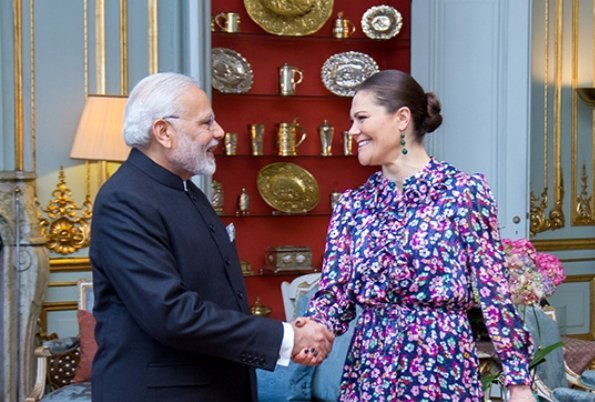 King Carl Gustaf and Crown Princess Victoria received Prime Minister Narendra Modi of India at Royal Palace. Prime Ministers at India-Nordic summit