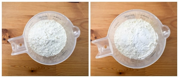 Making banana pancakes - step 2 - flour, baking powder and salt added to the mixture