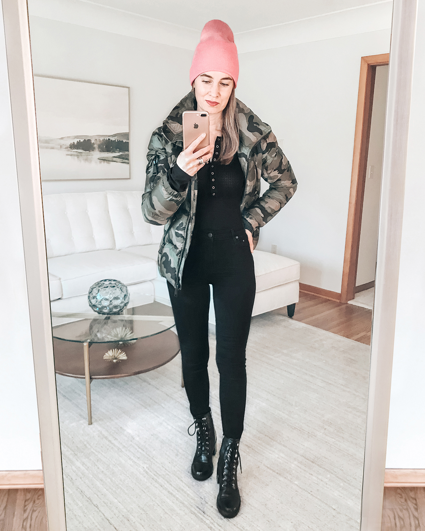 camo puffer jacket, pink beanie knit hat, valentine's day for her