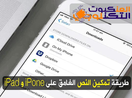 تمكين النص الغامق في iPhone و iPad