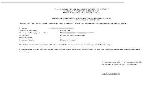 Contoh Surat Keterangan Tidak Mampu Untuk Pengurusan KIP ...