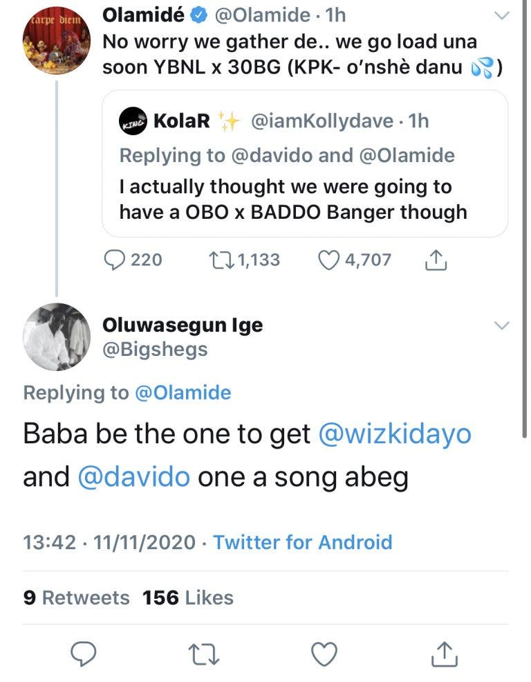 See Olamide's Reaction After A Fan Begged Him To Get Wizkid And Davido To Collaborate On A Song #Arewapublisize