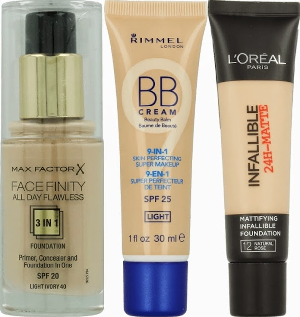 Podkład Max Factor Facefinity, Krem BB Rimmel Match Perfection, L'oreal Infallible 24H Matte