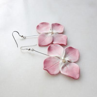 Bijoux boucles d'oreilles hortensia rose La Fille du Consul à la boutique La Fiancée du Pirate Toulon