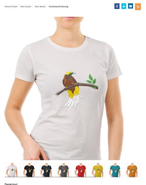 Baju Kaos Burung Cendrawasih Kuning