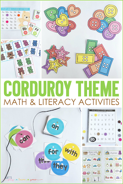 Corduroy Themed Math and Literacy Activities
