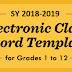 DepEd Official E- Class Record Templates for Grades 1 to 12 for SY 2018-2019