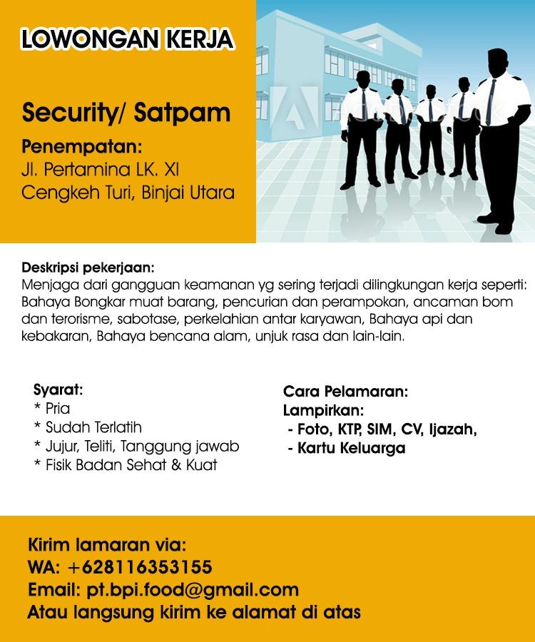 Info Loker Medan Terbaru Security Di Perusahaan Berkembang Poskerjamedan Com