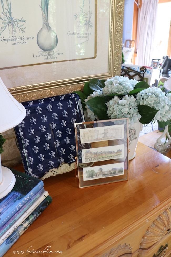 Paris prints in a floating frame is an inexpensive way to add French country design to home decor