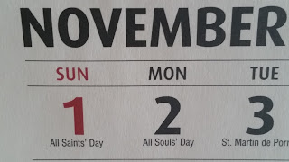 A Calendar showing that November 2 is All Soul's Day