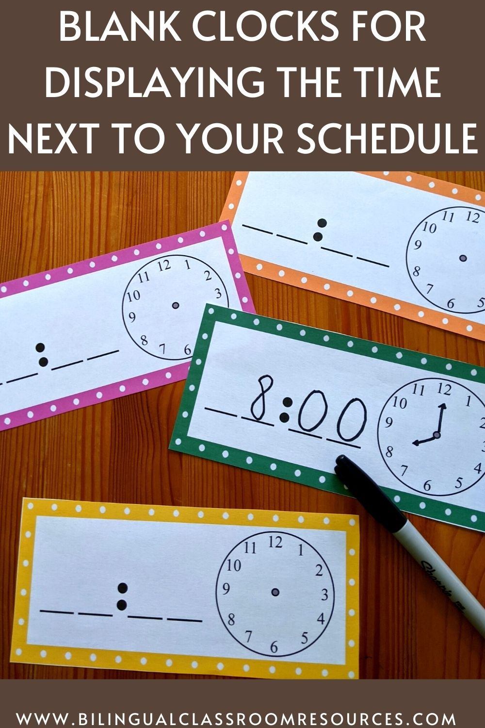 Editable Schedule Cards in Spanish