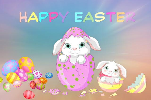 Pink Happy Easter Printable Card