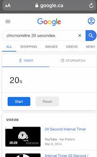 Raccourci Requête Chronomètre 20 secondes