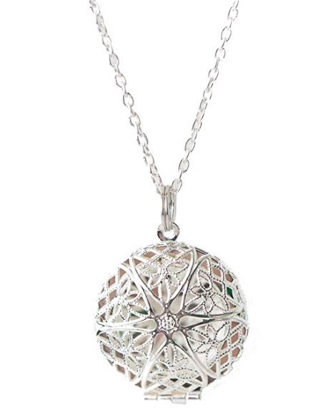 Silver mandala essential oils wearable diffuser locket