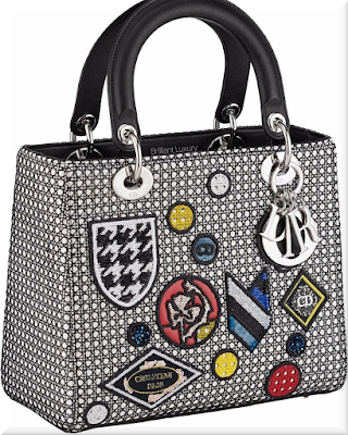 ♦Dior Lady Dior white and black mesh top handle lambskin bag with badges and classic silver Dior charms #dior #bags #ladydior #brilliantluxury
