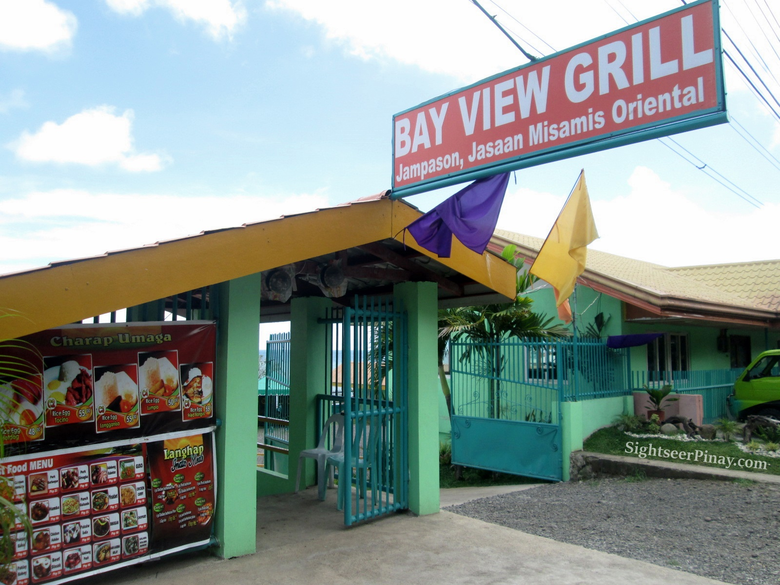 When you see this tarp on the highway, you know you're heading the right way. It's Bay View Grill!