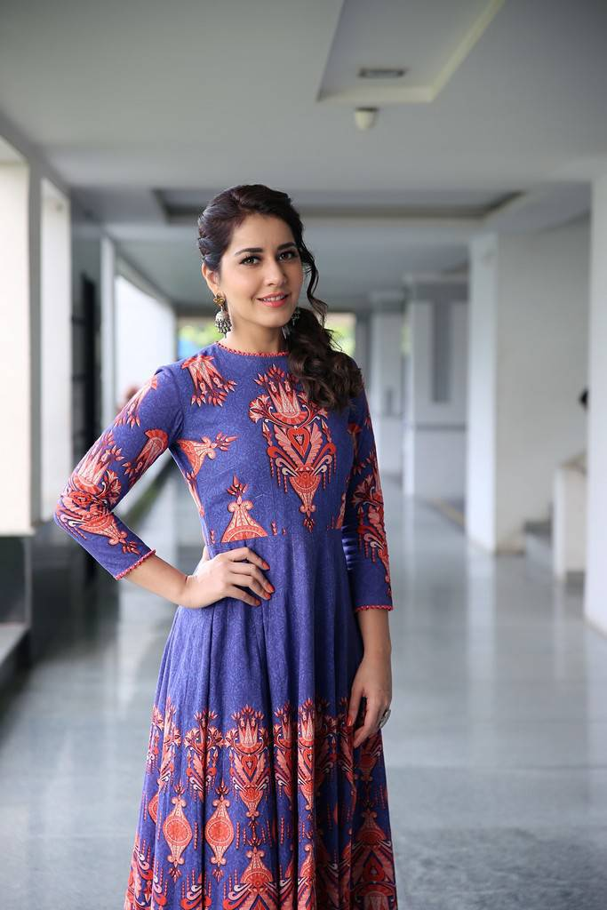 Raashi Khanna Stunning Photoshoot In Blue Dress