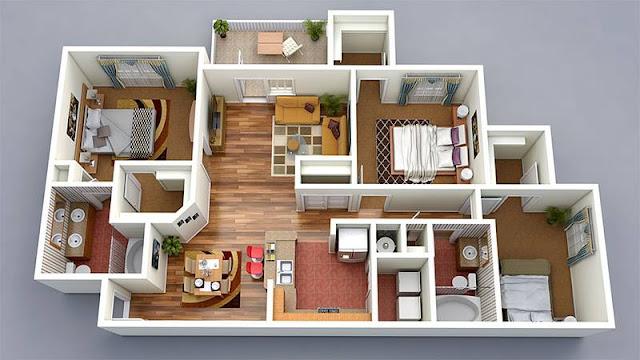 apartemen 3 kamar tidur