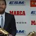 ميسى يتسلم جائزة الحذاء الذهبى للمرة الخامسة