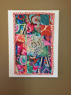 doily mini quilt on canvas