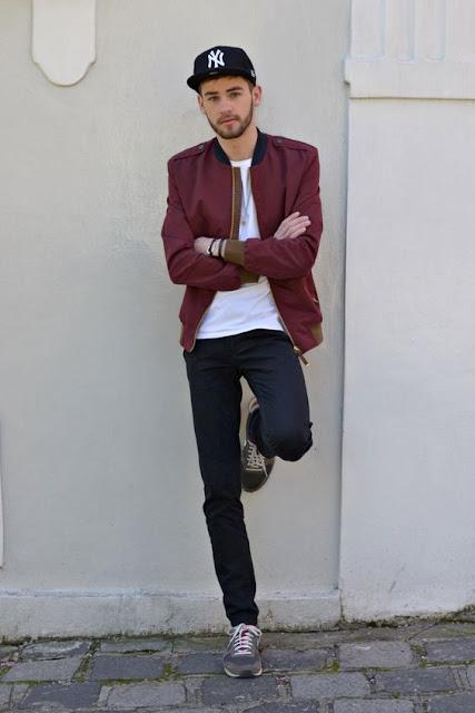 look masculino jaqueta bomber bordô marsala