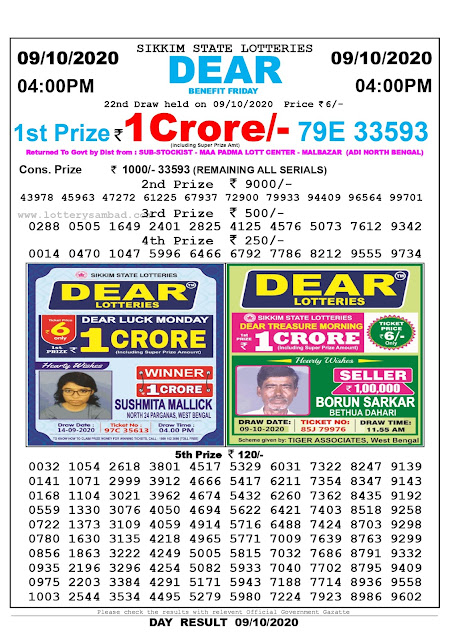 Lottery Sambad 09-10-2020 Today Results 4:00 pm, Sikkim State Lottery Sambad Today Result 4 pm, Sambad Lottery, Lottery Sambad Live Result Today